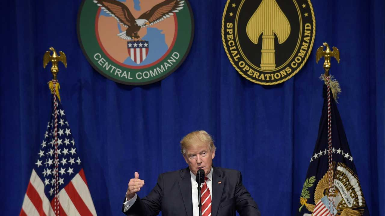 President Donald Trump speaks to troops while visiting U.S. Central Command and U.S. Special Operations Command at MacDill Air Force Base in Tampa, Fla.,Monday, Feb. 6, 2017.