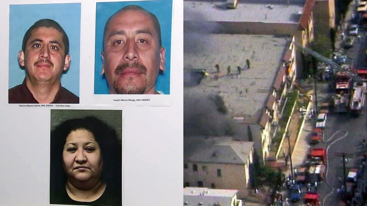 Police said Ramiro Valerio (top left), Joseph Monge (top right) and Johanna Lopez (bottom) were arrested in connection with a fire at an apartment complex in Los Angeles in 1993.