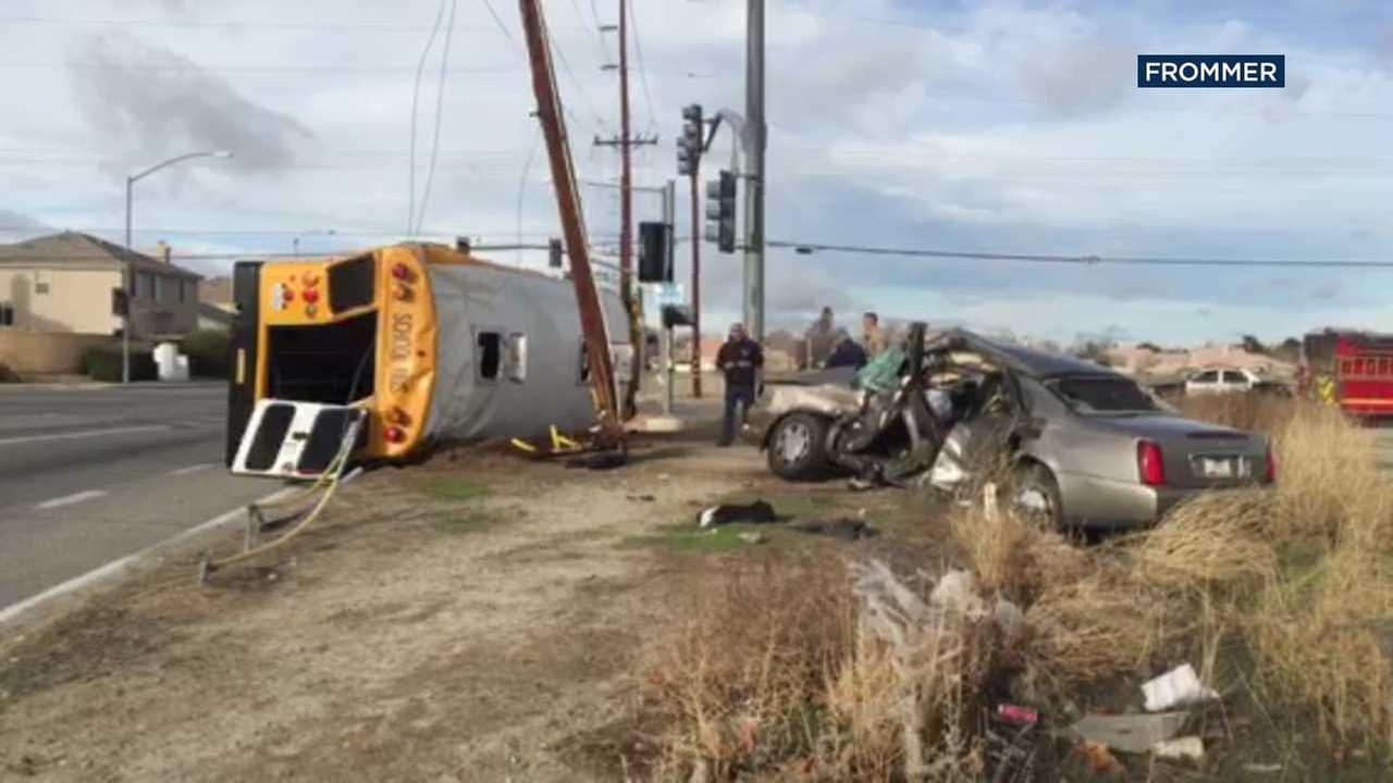 A school bus is seen on its side following a crash involving another vehicle in Lancaster on Tuesday, Feb. 7, 2017.