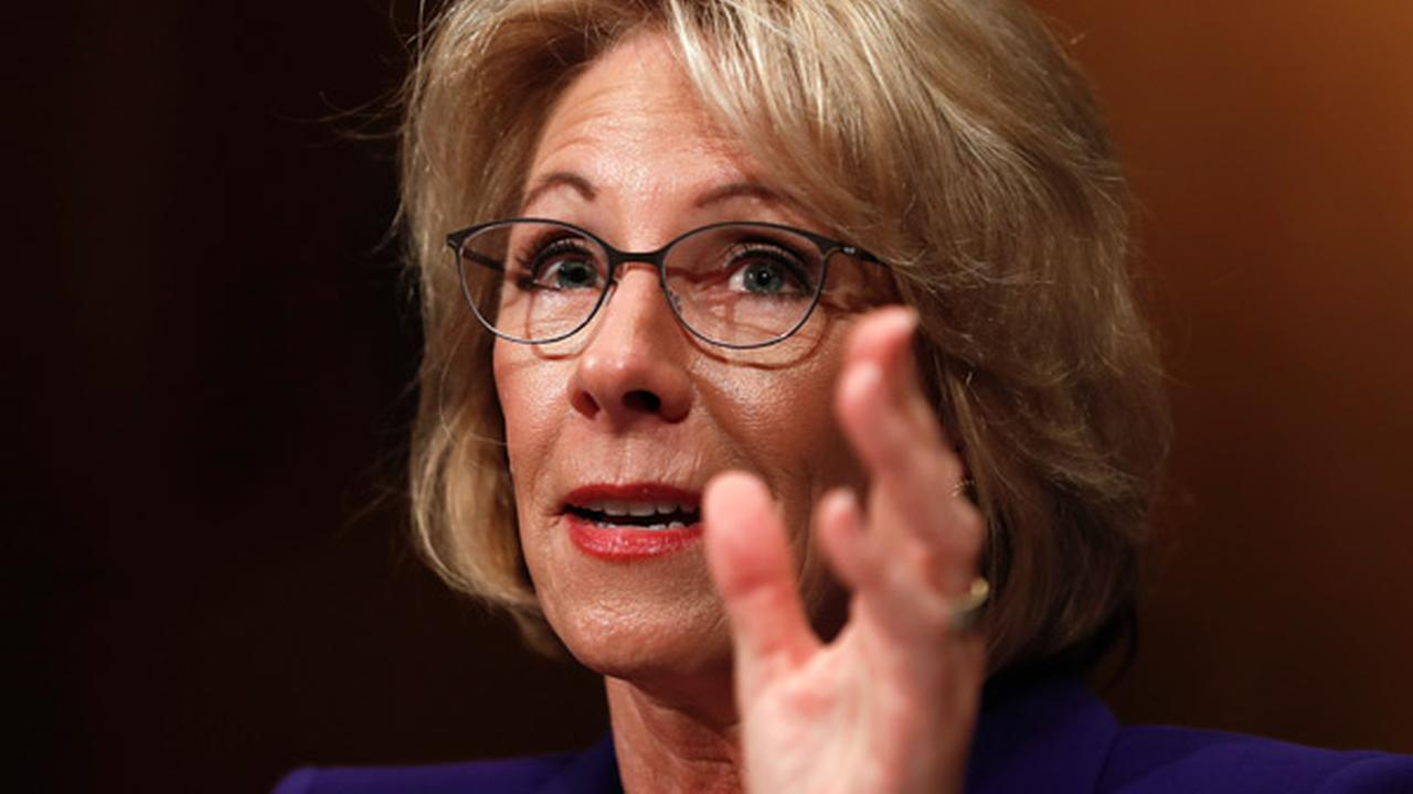 Education Secretary-designate Betsy DeVos testifies on Capitol Hill in Washington, Tuesday, Jan. 17, 2017, at her confirmation hearing.