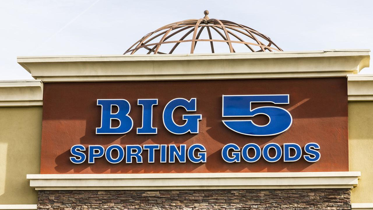 The front of a Big 5 Sporting Goods store is shown in a file photo.