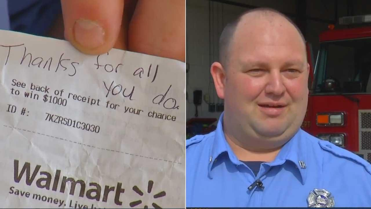 Firefighters in a North Carolina town are sending out a big thank you after a Good Samaritan secretly paid off their grocery bill after they dropped everything to respond to an emergency.