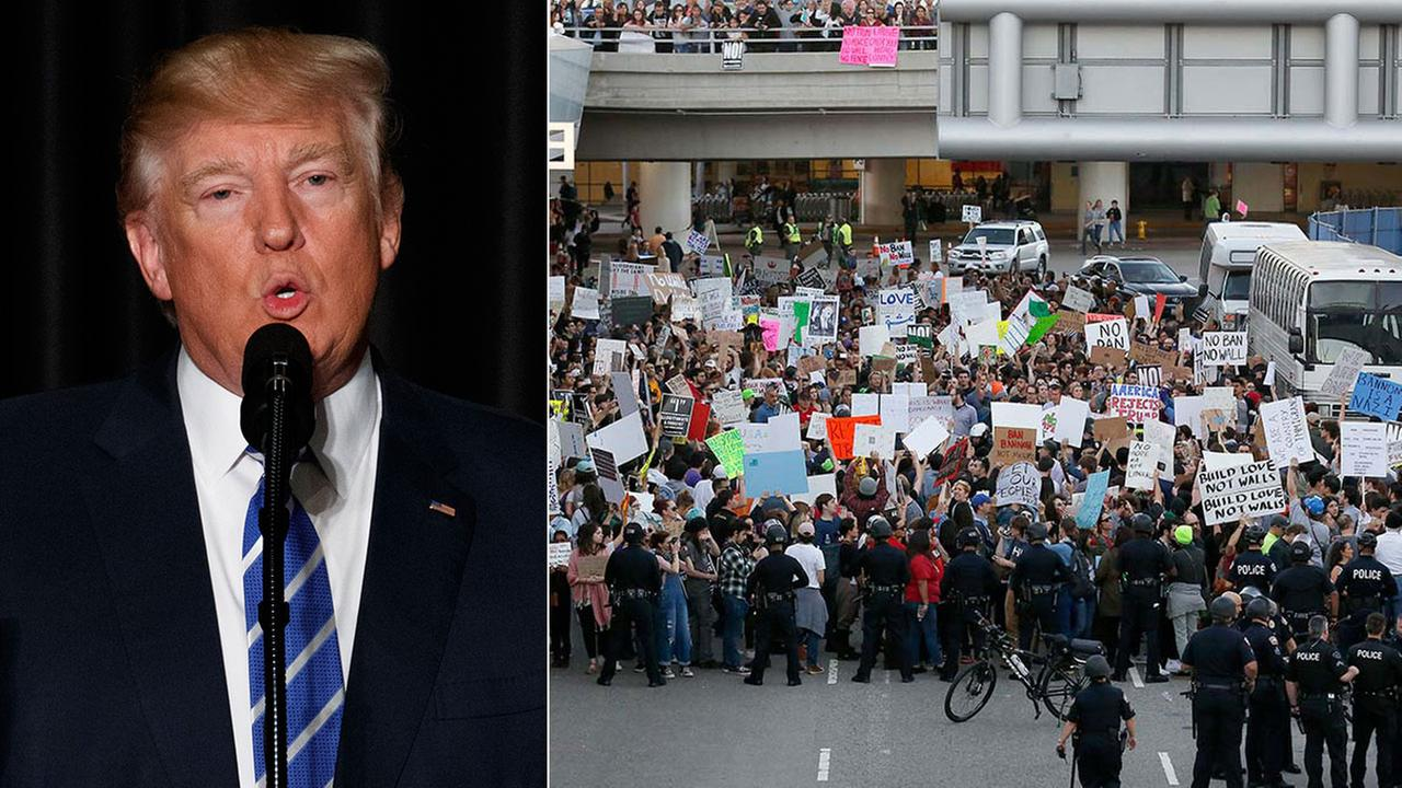 Thousands of demonstrators showed up at LAX and around the country in February 2017 to protest President Donald Trumps ban on immigrants from a number of Muslim-majority nations.