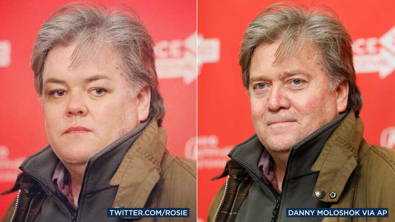 Comedienne Rosie ODonnell is seen in her Twitter profile photo, and President Donald Trumps adviser Steve Bannon is seen in a 2013 file photo.