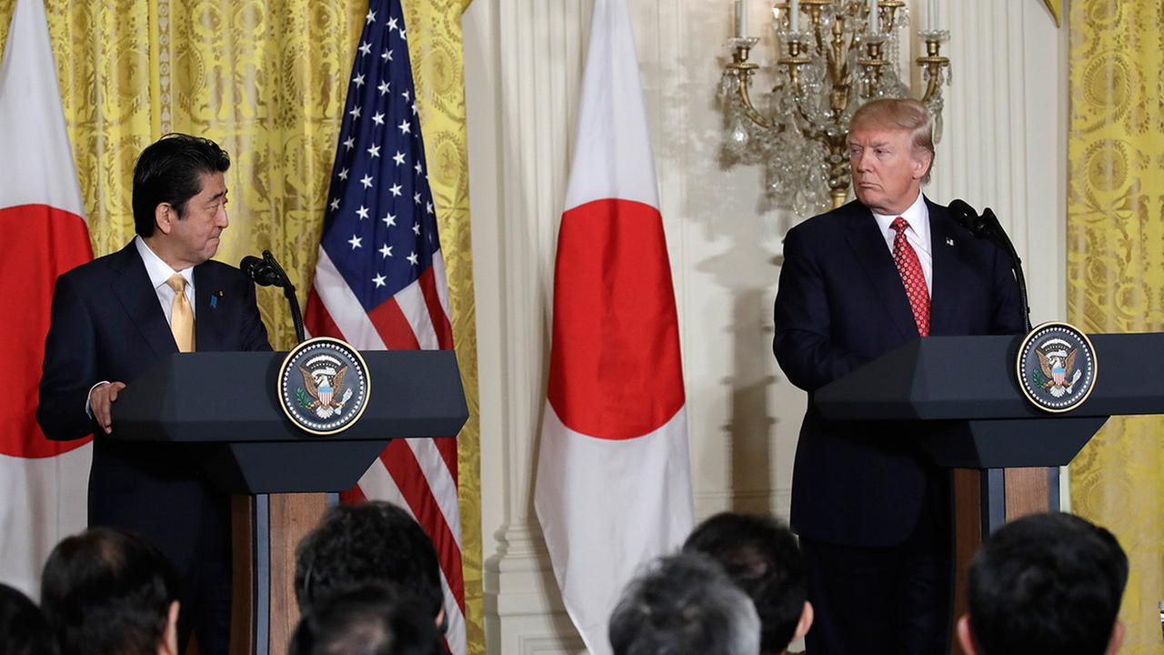 President Donald Trump and Japanese Prime Minister Shinzo Abe participate in a joint news conference, Friday, Feb. 10, 2017, in the East Room of the White House in Washington.