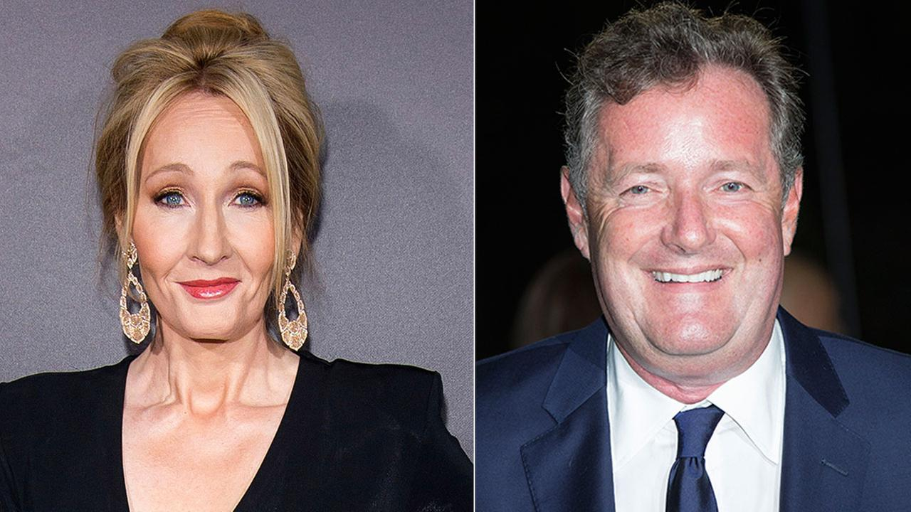 Author J. K. Rowling (left) and British TV personality Piers Morgan (right) were in a Twitter war over American politics.