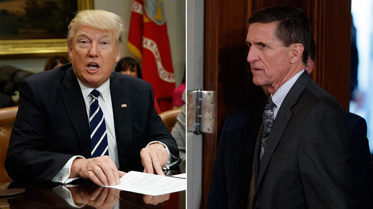 President Donald Trump (left) and Lt. Gen. Michael Flynn (right).