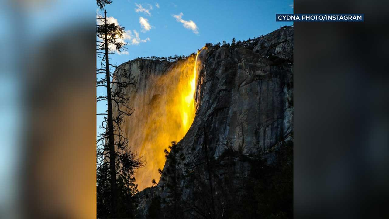 The firefall phenomenon is seen at Yosemite National Park.