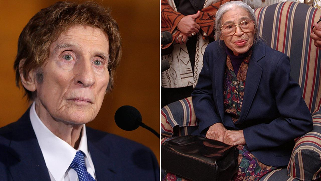 Little Caesars founder and sports team owner Mike Ilitch (left) and civil rights icon Rosa Parks (right).