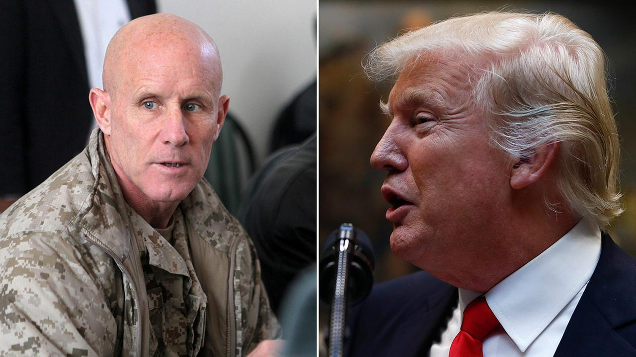Vice Adm. Robert S. Harward speaks during a visit to Afghanistan on Jan. 6, 2011 (left), and President Donald Trump speaks during a ceremony in Washington on Feb. 16, 2017 (right).