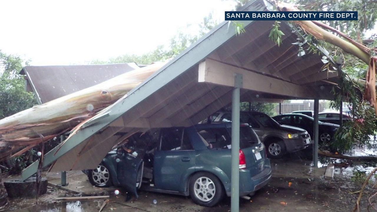 A eucalyptus tree crushed a carport and damaged a car in Goleta as a strong storm swept through Santa Barbara and the Southland on Friday, Feb. 17, 2017.KEYT