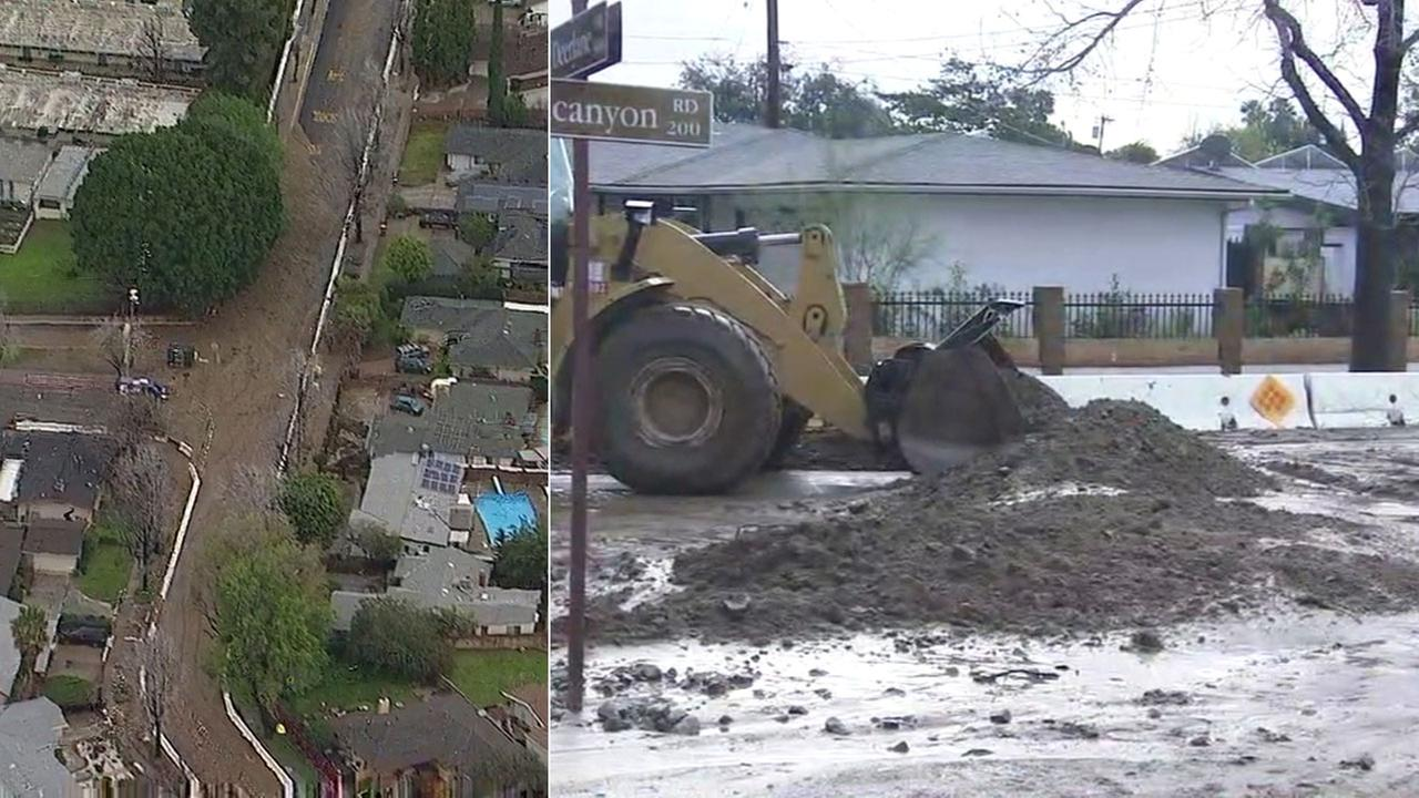 Mandatory evacuations lifted in Duarte; mud and debris cover streets