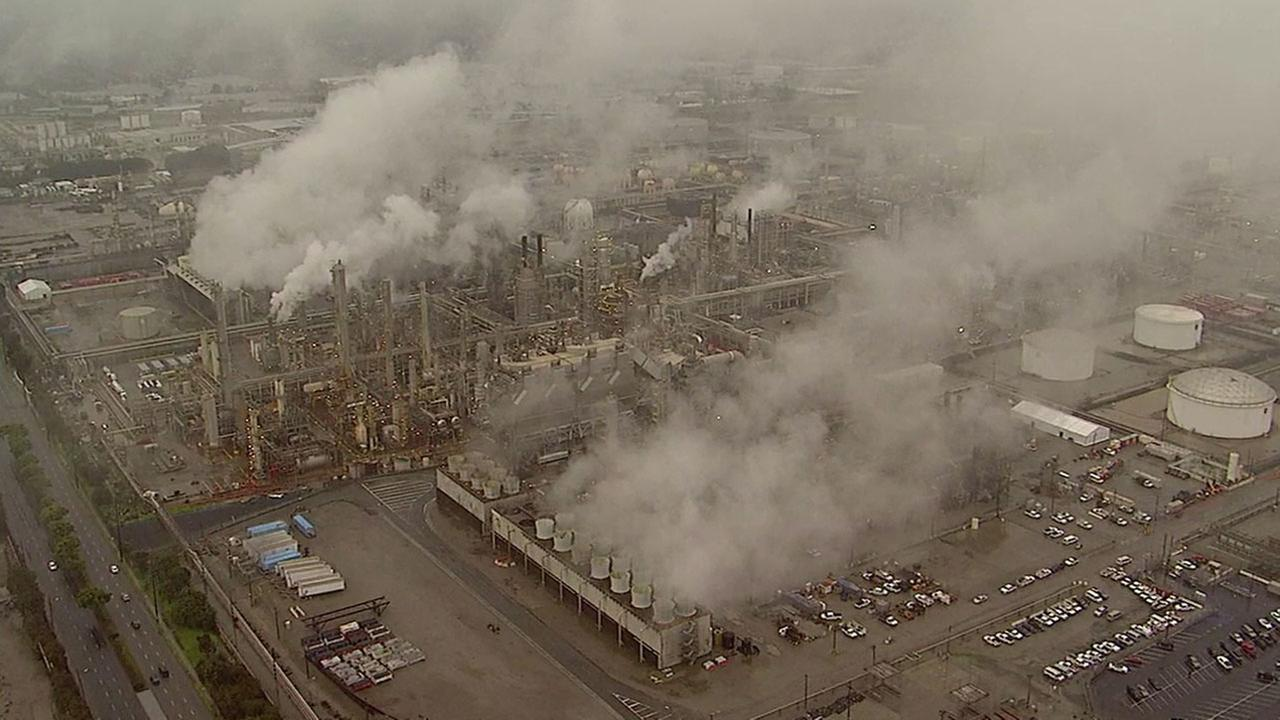 The Torrance ExxonMobil Refinery is shown on Saturday, Feb. 18, 2017, after a reported explosion and fire happened on the site.