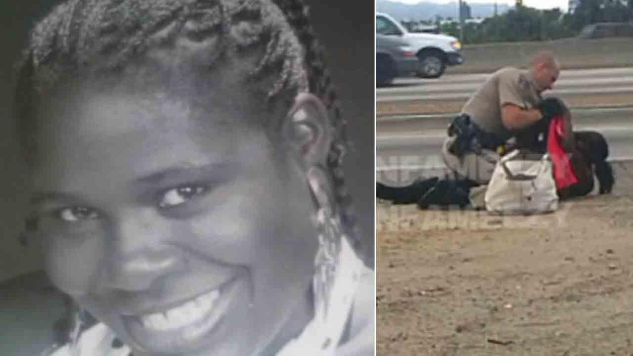 Marlene Pinnock, 51, is seen in a photo provided by her attorney. (left) She was repeatedly punched by an unidentified CHP officer on July 1, 2014 (right).