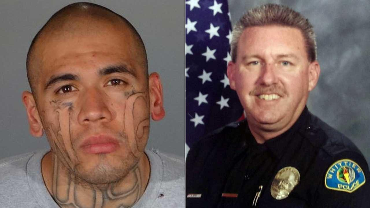 Michael Christopher Mejia, 26, is seen, left, in a booking photo from the L.A. County Sheriffs Department. Whittier Officer Keith Wayne Boyer is seen in a file photo, right.