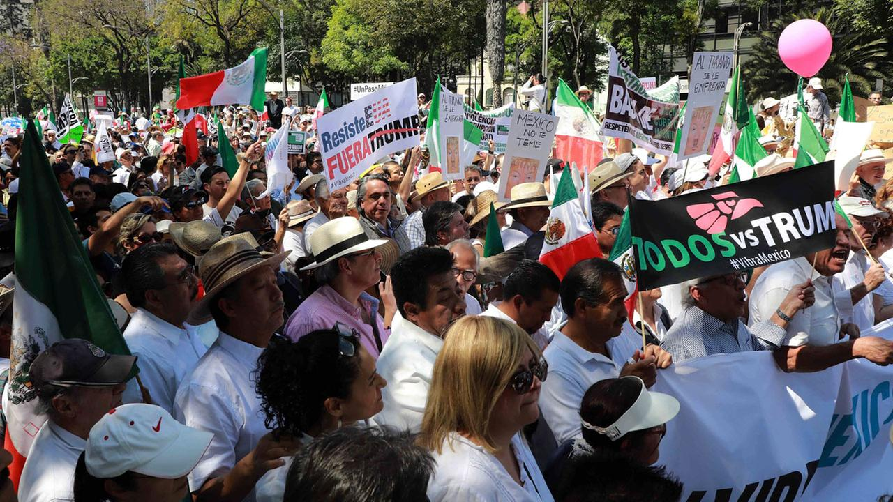 Thousands marched demanding respect for Mexico and its migrants, in the face of perceived hostility from U.S. President Donald Trump, in Mexico City, Sunday, Feb. 12, 2017.