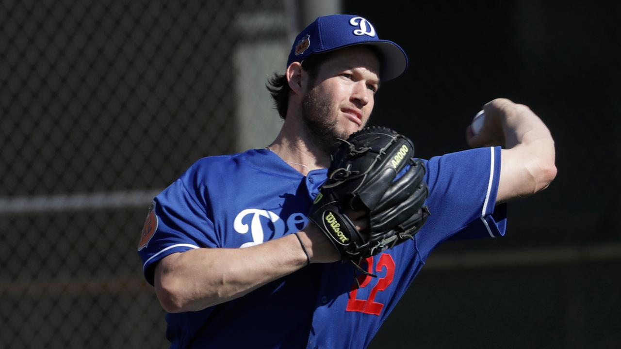Los Angeles Dodgers Clayton Kershaw during a spring training baseball workout Thursday, Feb. 16, 2017, in Glendale, Ariz.