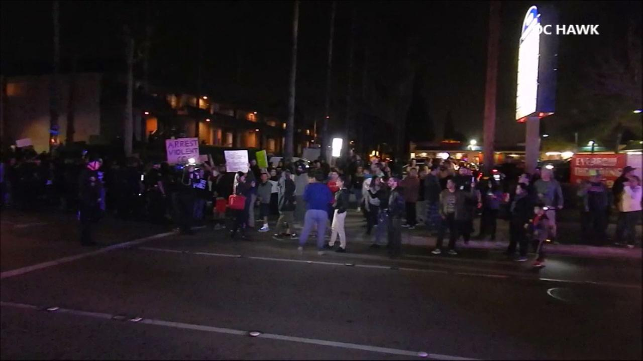 Protesters gathered in the streets of Anaheim on Wednesday, Feb. 22, 2017, after video surfaced of an off-duty officer in a physical confrontation with a teenager.