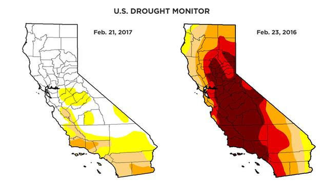 Rainy season helps get California out of extreme drought category
