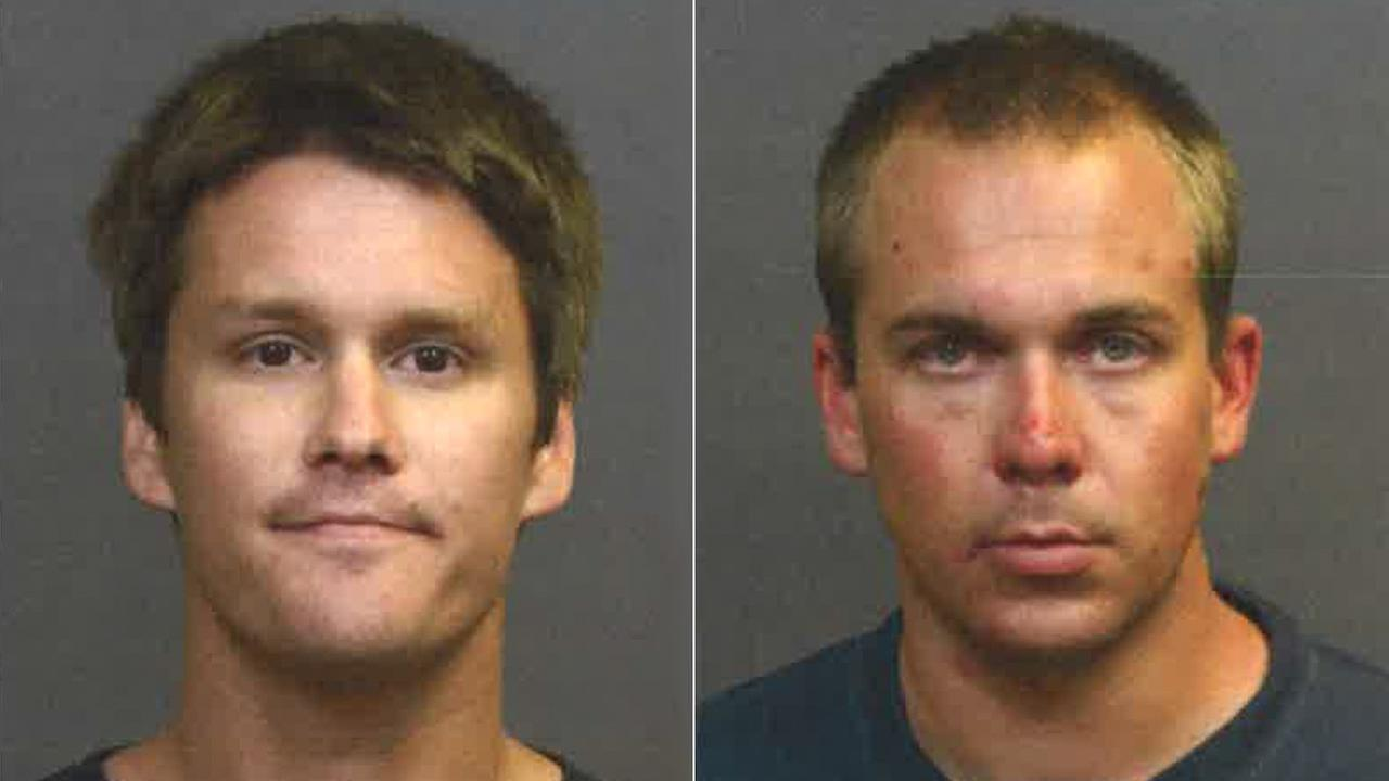 Collin Zborowski, left, and Daniel Lubach, right, are seen in booking photos released by the Costa Mesa Police Department.