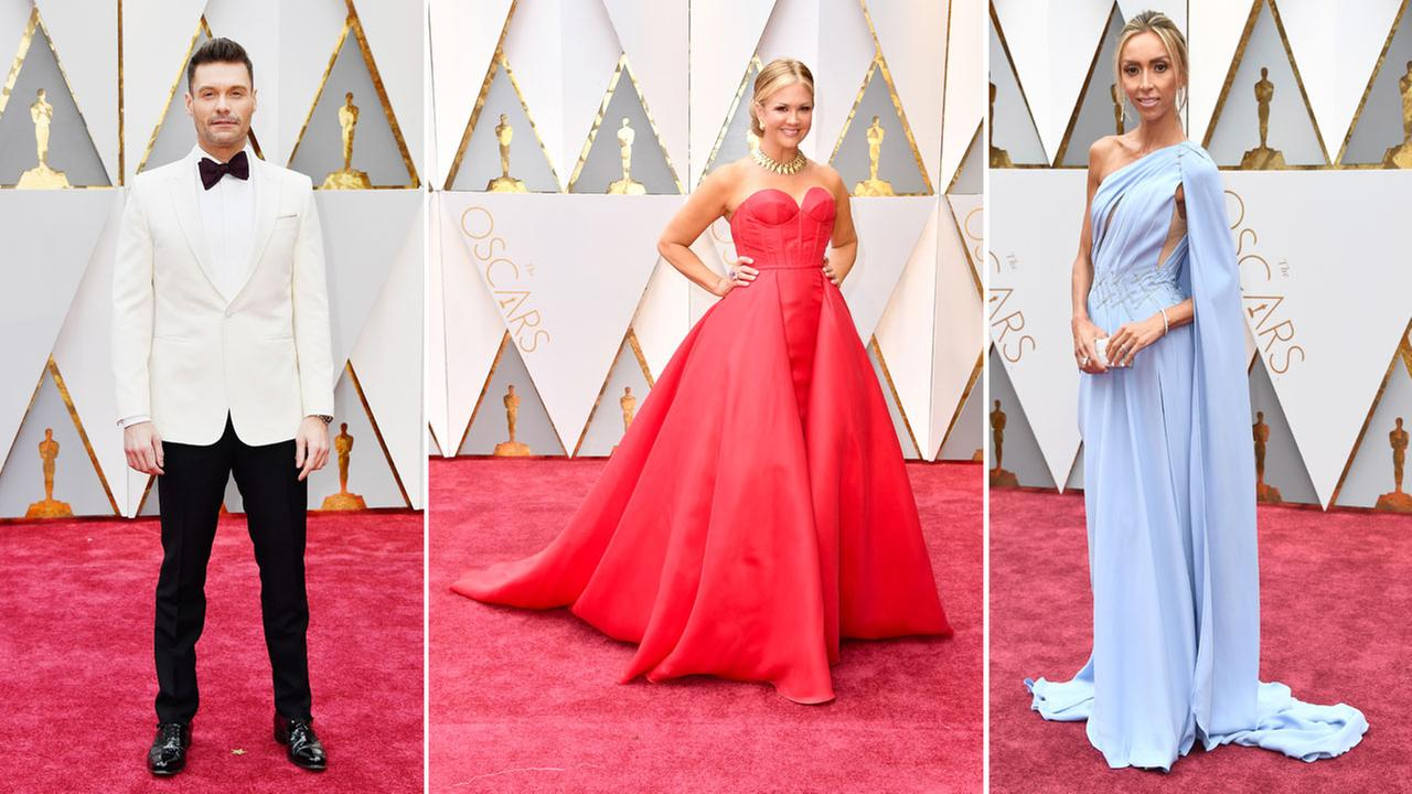 TV personalities Ryan Seacrest, Nancy ODell and Giuliana Rancic arrive at the 89th Academy Awards red carpet on Sunday, Feb. 26, 2017.