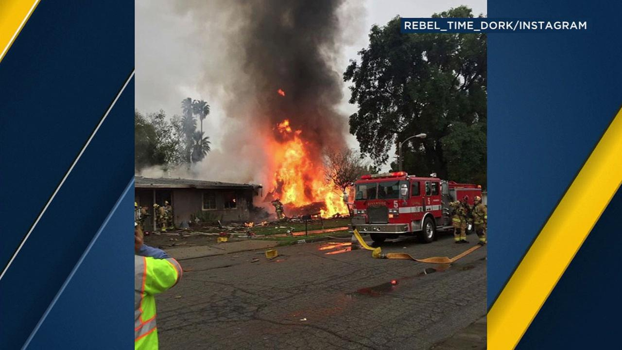 A witness captured the fireball after a Riverside plane crashed into a home on Monday, Feb. 27, 2017.KABC