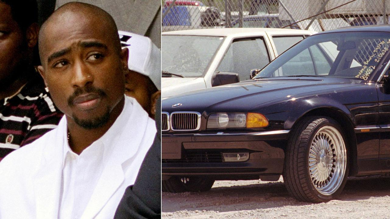 A black BMW, riddled with bullet holes, is seen in a Las Vegas police impound lot. Rapper Tupac Shakur was shot while riding in the car driven by Suge Knight on Sept. 7, 1996.