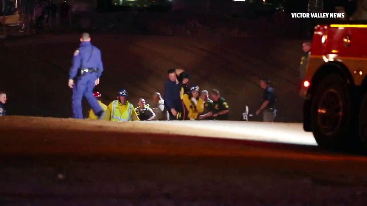At least 1 killed after car crashes into Hesperia aqueduct