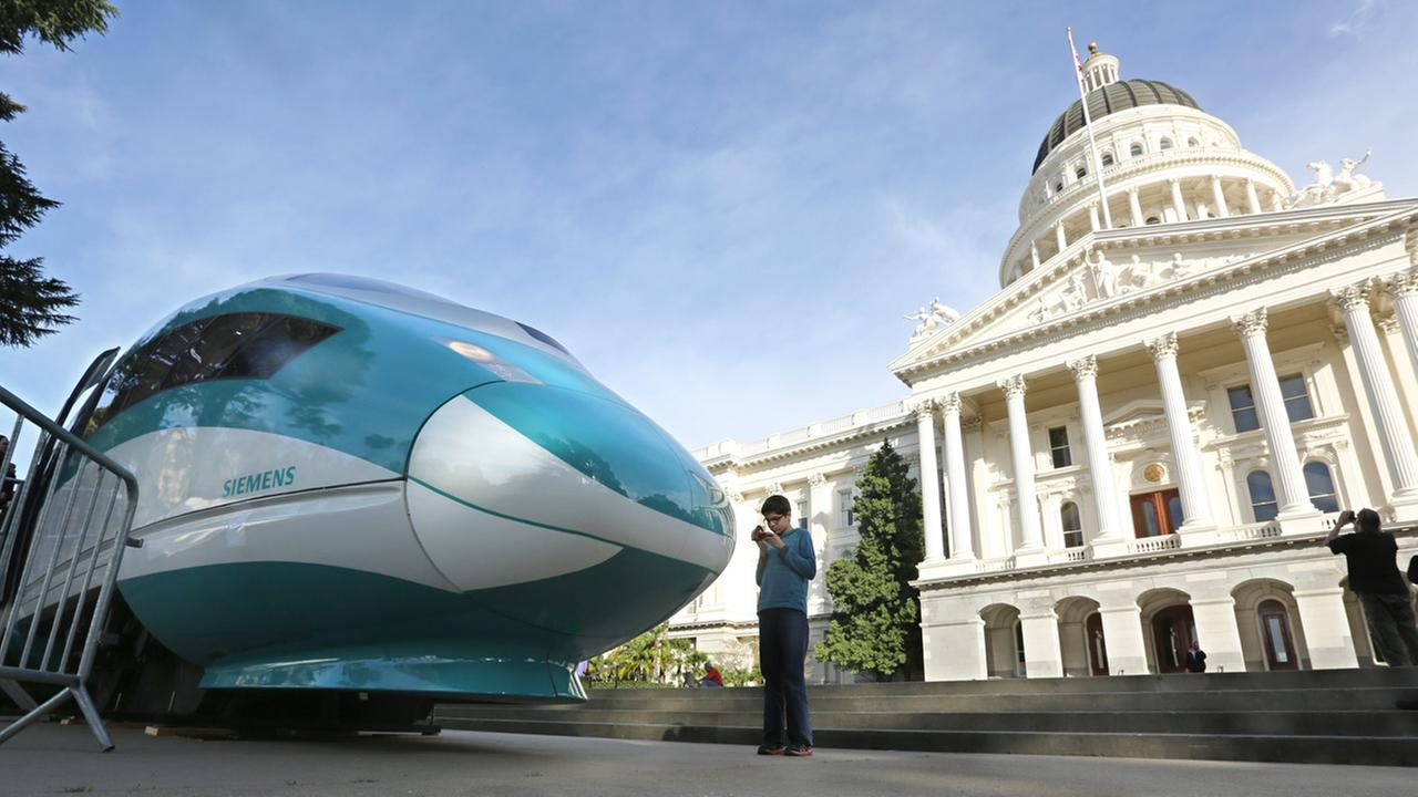 In this Feb. 26, 2015 file photo, a full-scale mock-up of a high-speed train is displayed at the Capitol in Sacramento.