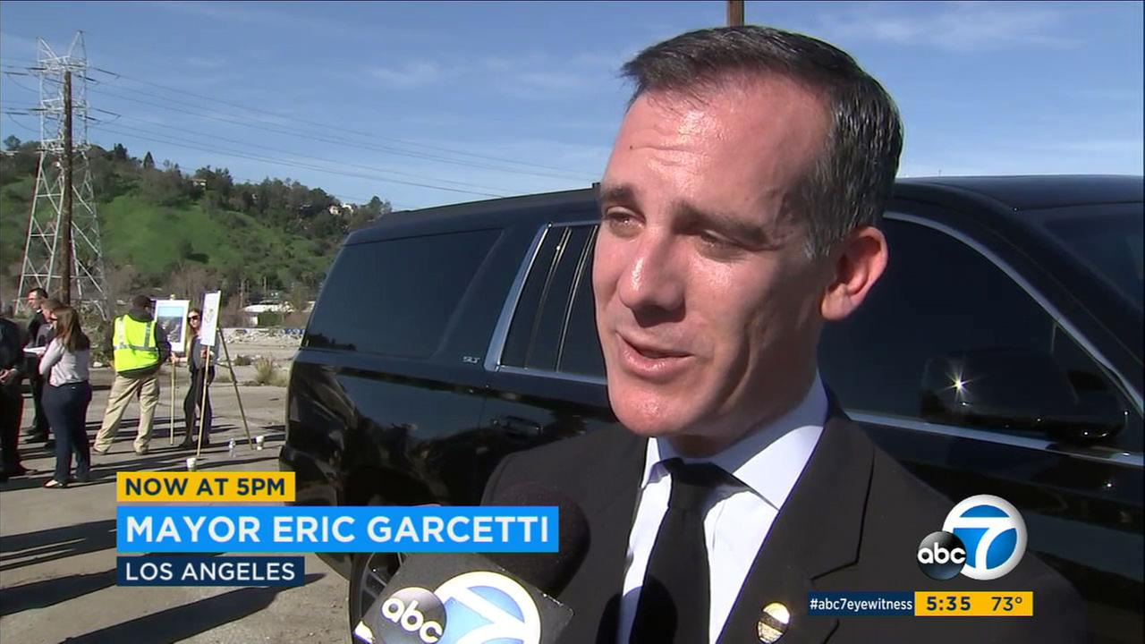 Mayor Eric Garcetti is speaking out about the arrest of a father by ICE agents as he drove his daughters to school in Highland Park.