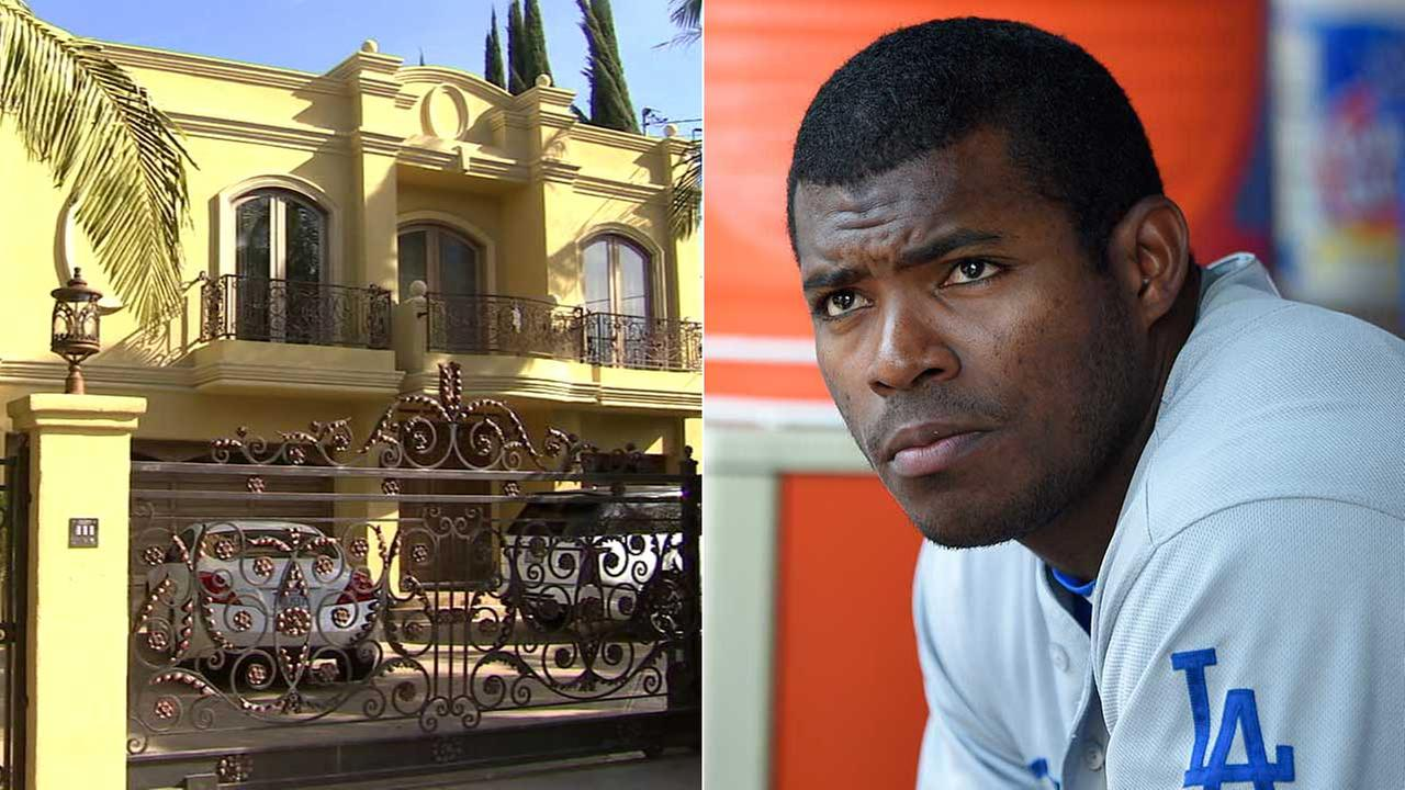 Los Angeles Dodgers outfielder Yasiel Puigs Sherman Oaks home, left, was burglarized, police said. (AP Photo/Nick Wass)