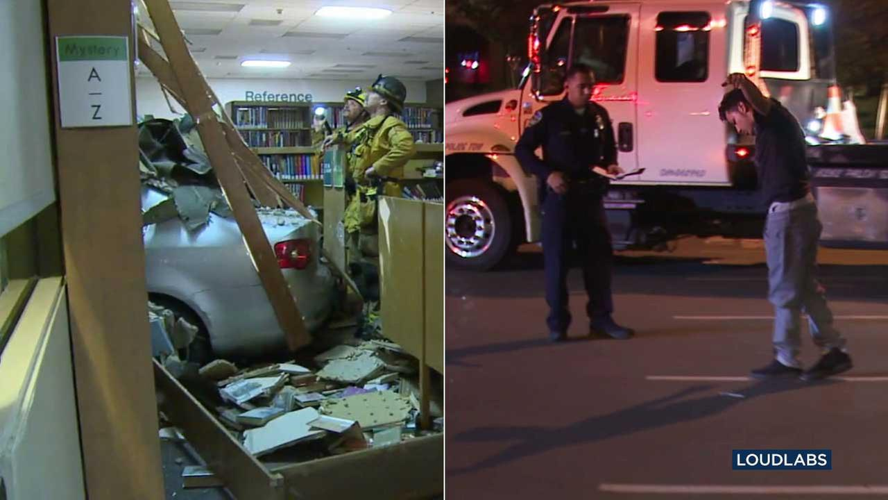 Firefighters are seen inside the Downey City Library after a suspected DUI driver, seen right, slammed into the building on Thursday, March 9, 2017.