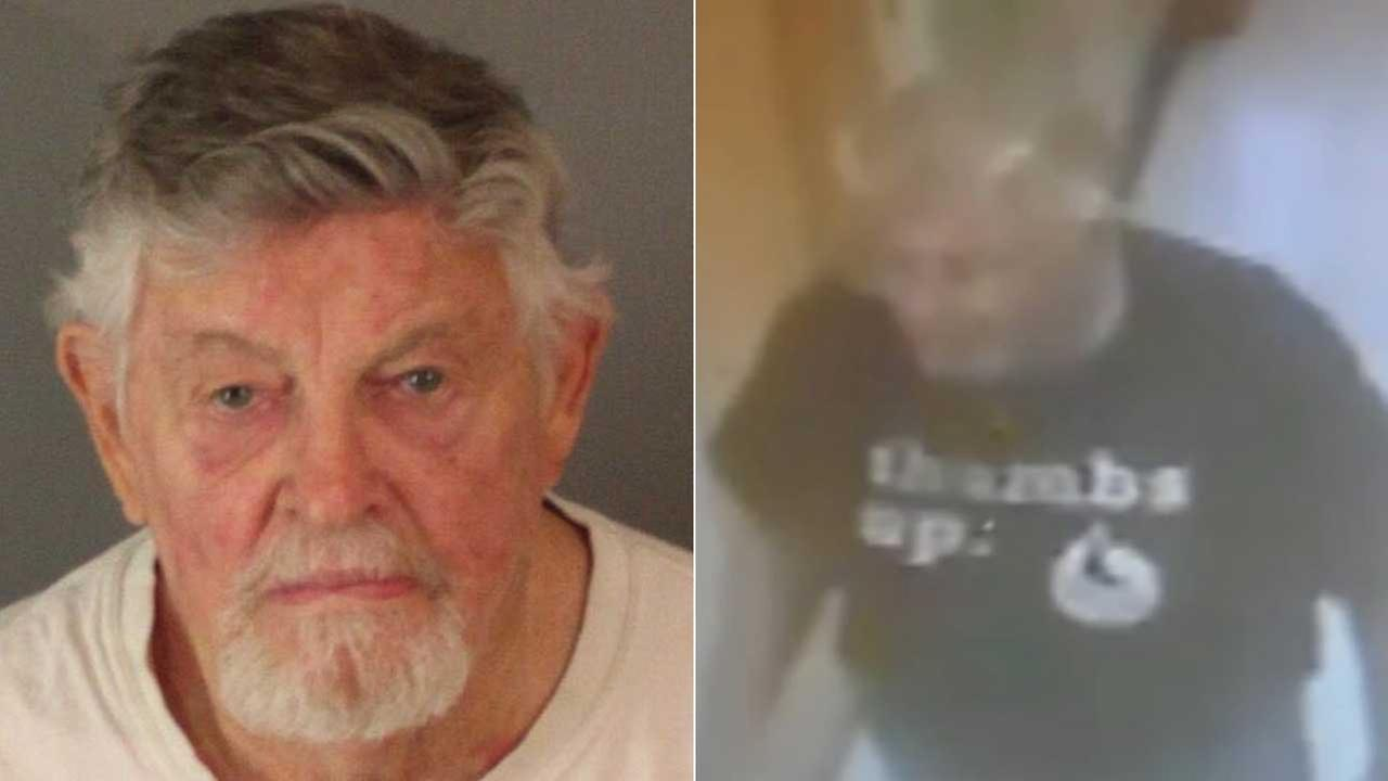 Theodore Childers, 78, is seen in a booking photo, left, and a surveillance still image, both released by the Riverside Police Department.