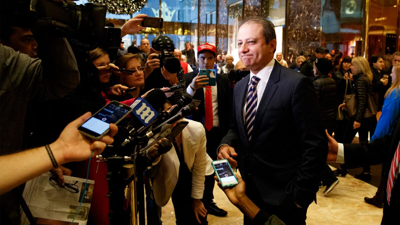 United States Attorney General for the Southern District of New York Preet Bharara speaks with reporters at Trump Tower, Wednesday, Nov. 30, 2016, in New York.