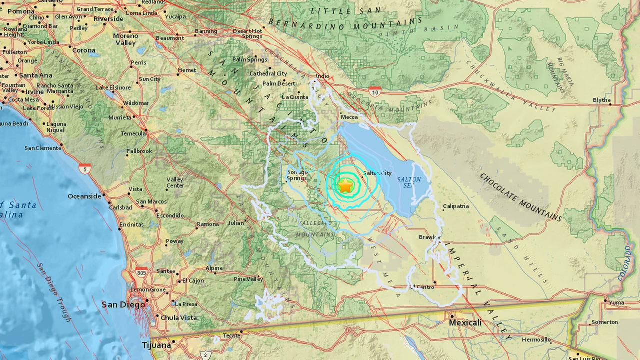 A map shows the epicenter of an earthquake that struck near the Salton Sea in Imperial County on Tuesday, March 14, 2017.