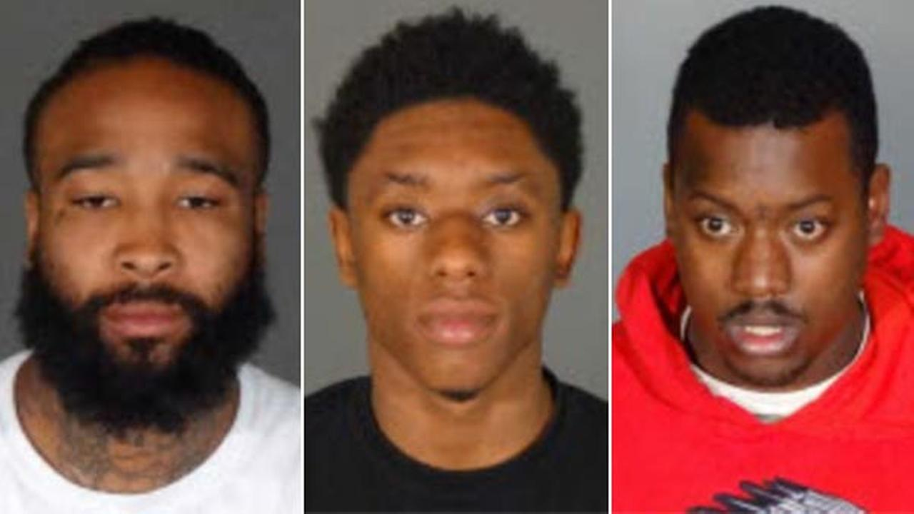 Daquinn Epps (left), Daejohn Clark (center) and John White (right) were arrested in connection with a string of burglaries in the San Fernando Valley, Los Angeles police said.