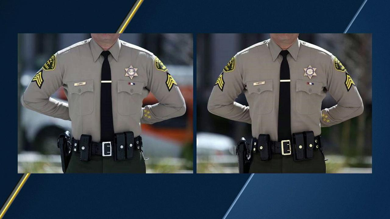Images show a Los Angeles County sheriffs deputy uniform with silver and brass belt buckles.