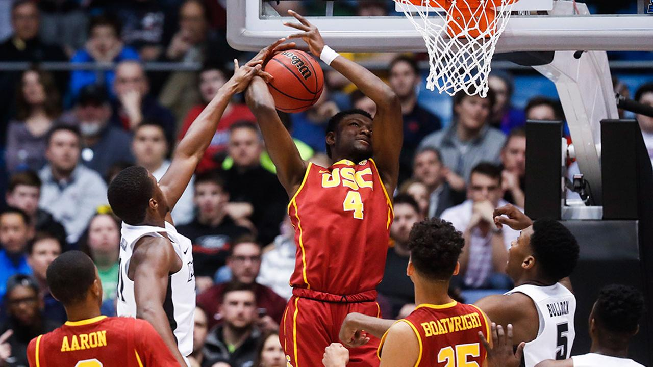 Providences Alpha Diallo, center left, blocks a shot by USCs Chimezie Metu (4) during a First Four game of the NCAA mens basketball tournament on Wednesday, March 15, 2017.
