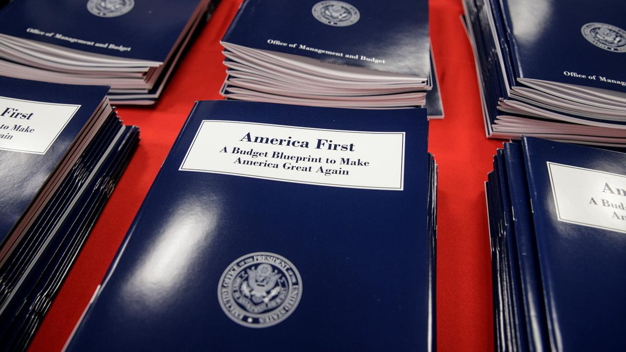 Copies of President Donald Trumps first budget are displayed at the Government Printing Office in Washington, Thursday, March, 16, 2017.