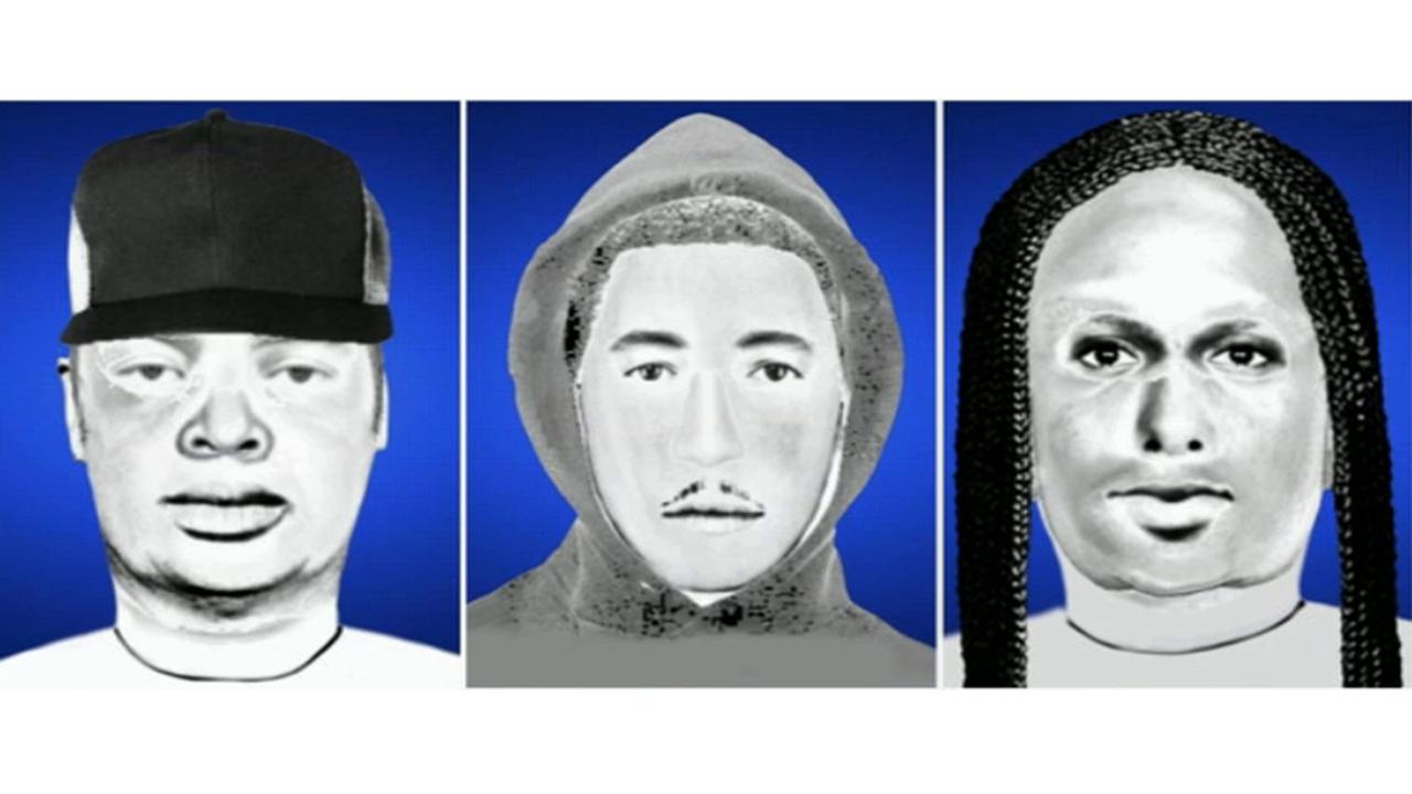 Sketches of three suspects in a carjacking incident at Cal State Northridge on Friday, July 11, 2014.