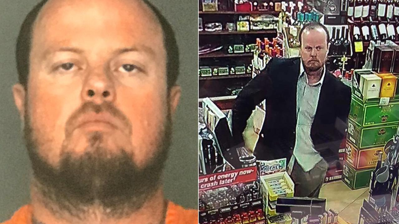 Kenneth Scott Welch is seen in a booking photo, left, and a surveillance image captured at a gas station in Hesperia.