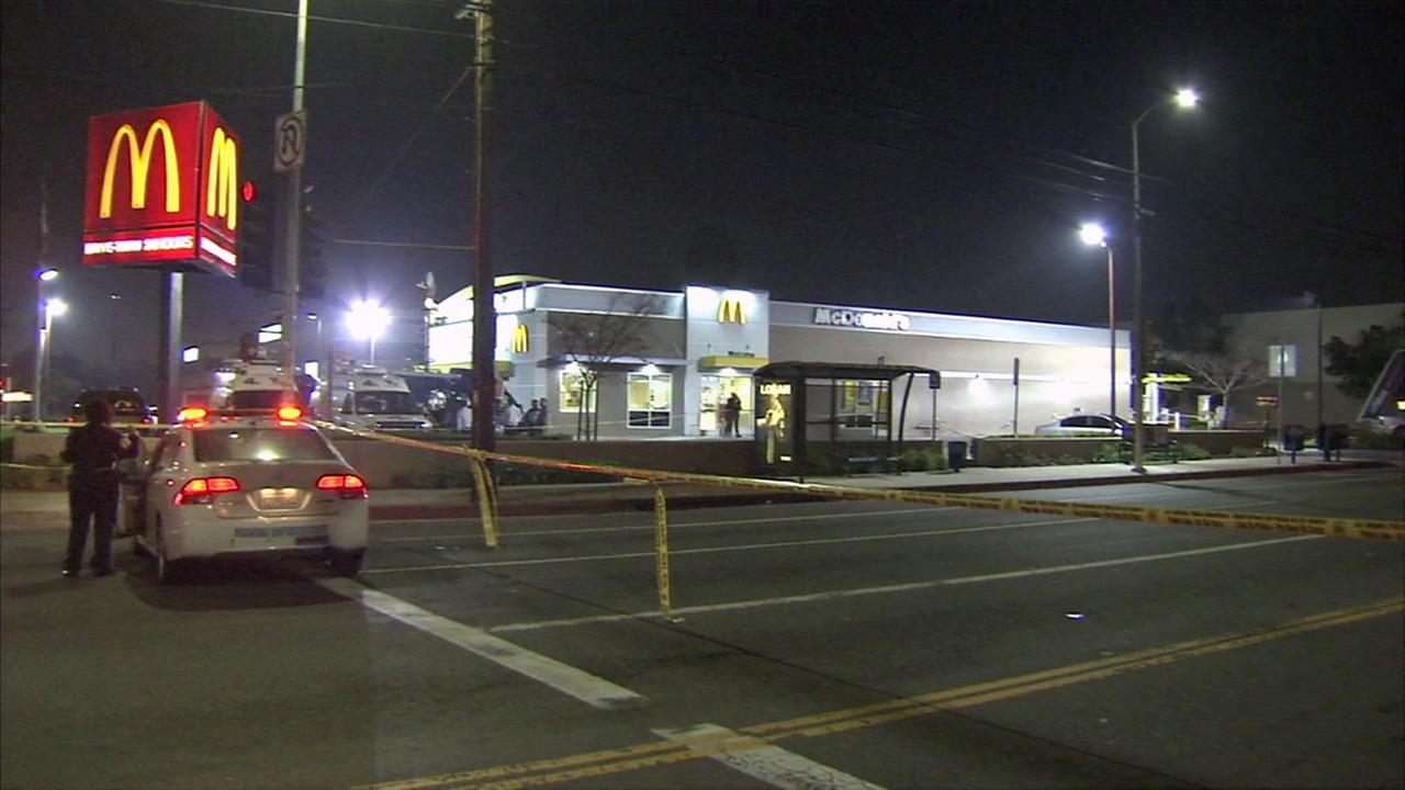 Officials said a man was shot and killed outside a McDonalds in the 15000 block of Figueroa Street in South Los Angeles on Friday, March 17, 2017.