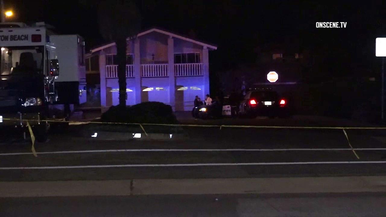Authorities at the scene of an officer-involved shooting in Huntington Beach on Sunday, March 19, 2017.