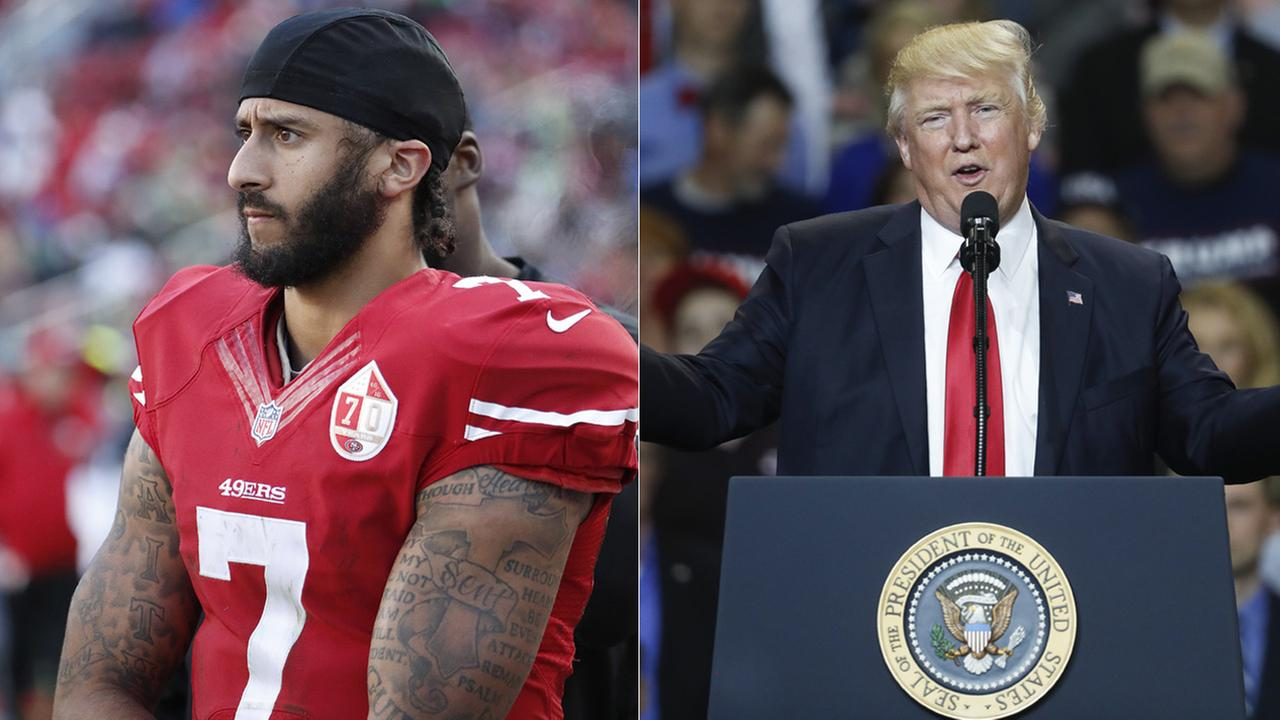San Francisco 49ers quarterback Colin Kaepernick, left, was criticized by President Donald Trump at a rally in Kentucky on Monday, March 20, 2017.