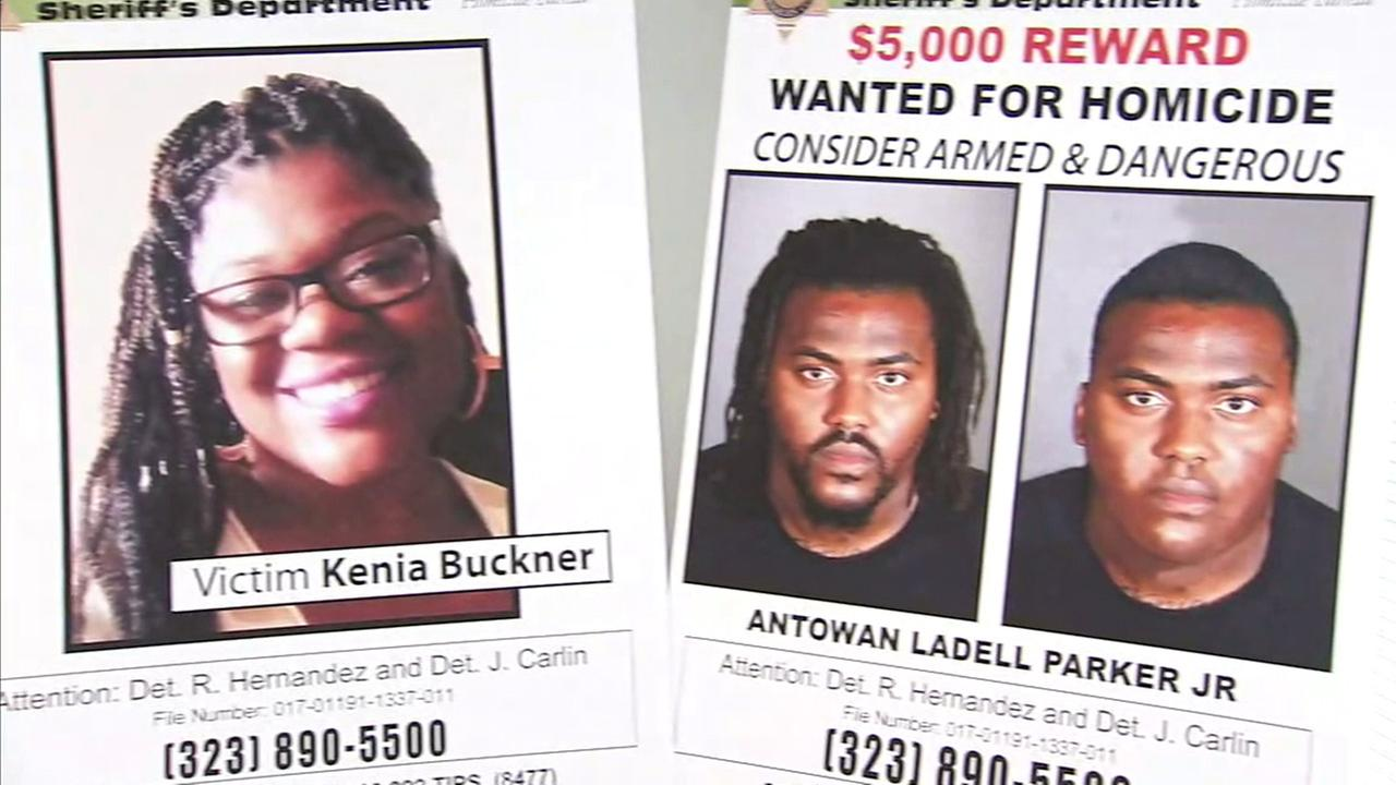 Kenia Buckner and her suspected murderer, Antowan Parker Jr., are seen on posters during a news conference on Tuesday, March 21, 2017.