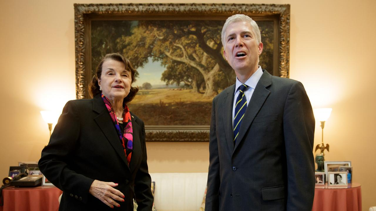 Supreme Court Justice nominee Neil Gorsuch meets with Sen. Dianne Feinstein in her office on Capitol Hill in Washington, Monday, Feb. 6, 2017.