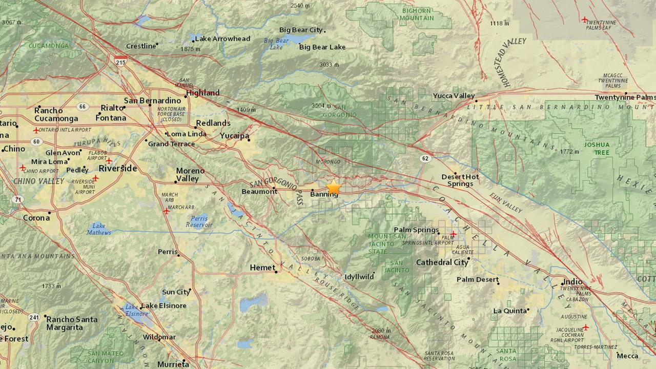 A map shows the epicenter of a magnitude-2.9 earthquake that rattled Riverside County on Wednesday, March 22, 2017.