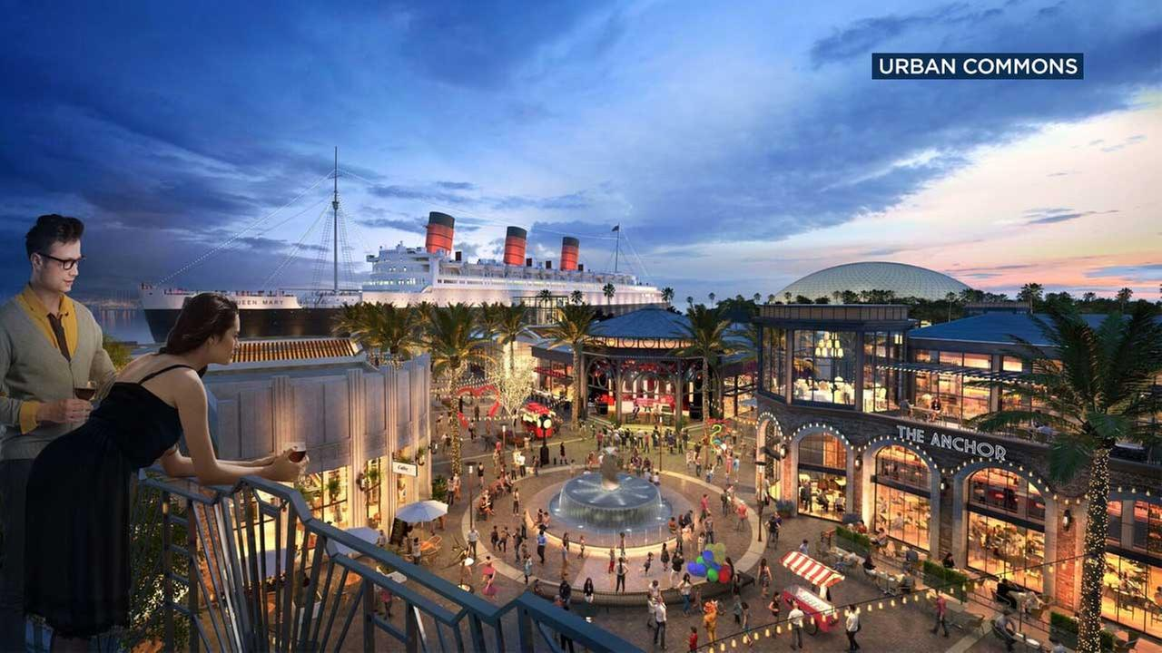 This artist rendering from Urban Commons shows the proposed Queen Mary Island.