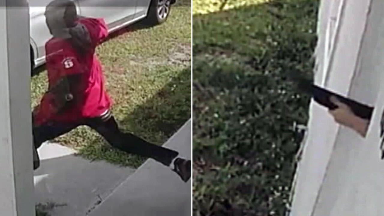 Surveillance video captured a burglar kicking down a door and being greeted by a mother with a shotgun in Miami Gardens, Florida.