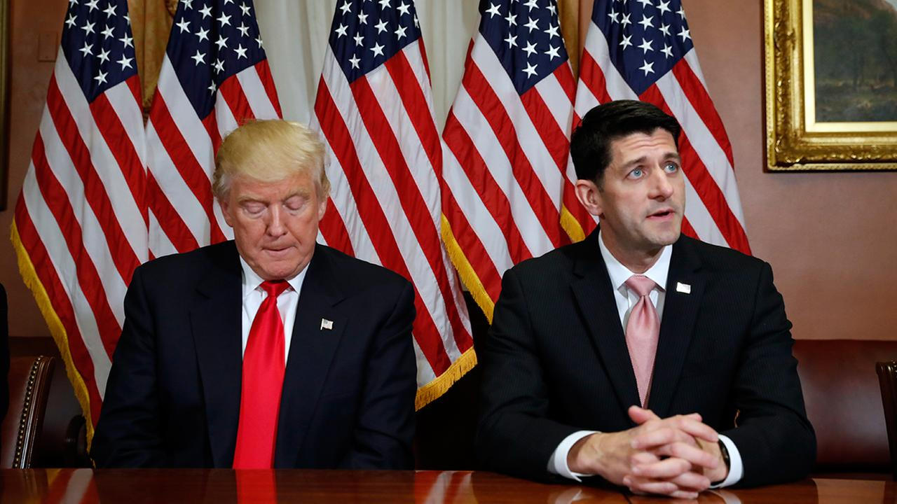 President Donald Trump is seen with House Speaker Paul Ryan of Wis. on Capitol Hill in Washington.